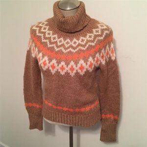 J.CREW  Tan Peach & Beige Print Turtleneck Sweater